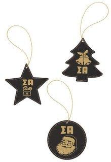 Sigma Alpha Leatherette Holiday Ornament Set (3)