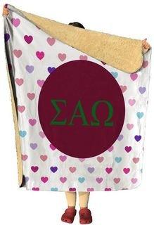 Sigma Alpha Omega hearts Sherpa Lap Blanket