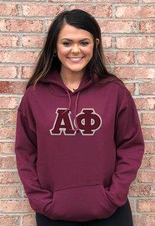 DISCOUNT Alpha Phi Lettered Hooded Sweatshirt