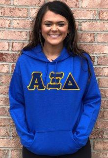 DISCOUNT Alpha Xi Delta Lettered Hooded Sweatshirt