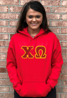 DISCOUNT Chi Omega Lettered Hooded Sweatshirt