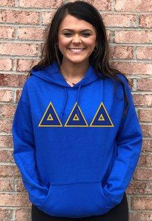 DISCOUNT Delta Delta Delta Lettered Hooded Sweatshirt