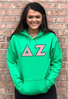 DISCOUNT Delta Zeta Lettered Hooded Sweatshirt
