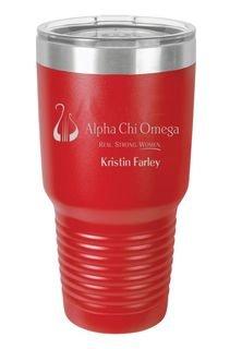 Alpha Chi Omega Vacuum Insulated Mascot Tumbler