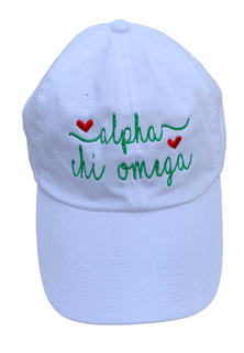 New Super Savings - Alpha Chi Omega Script Hearts Ball Cap - WHITE