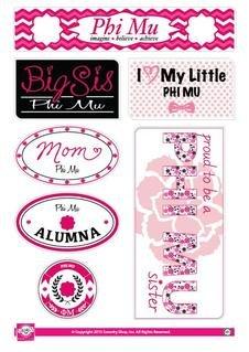 Phi Mu Family Sticker Sheet