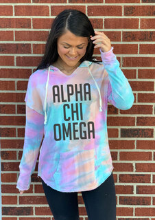 Alpha Chi Omega Angel Terry Rainbow Sherbet Nora Pullover