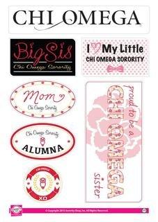 Chi Omega Family Sticker Sheet