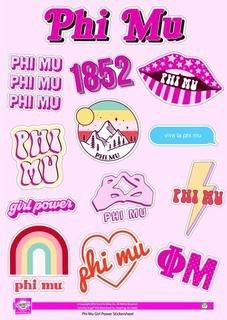 Phi Mu Girl Power Stickers