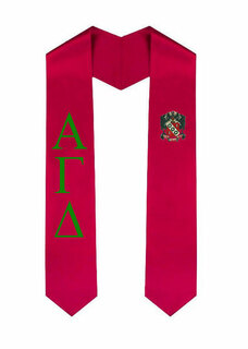 Alpha Gamma Delta Greek Lettered Graduation Sash Stole With Crest