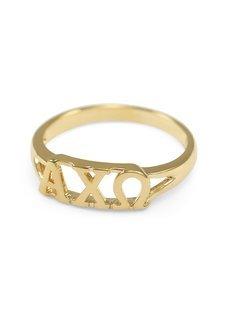 Alpha Chi Omega Gold Plated Letter Ring
