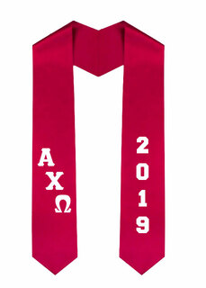 Alpha Chi Omega Greek Diagonal Lettered Graduation Sash Stole With Year