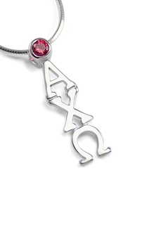 Alpha Chi Omega Sterling Silver Lavaliere Pendant with Swarovski� Red Crystal