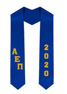 Alpha Epsilon Pi Greek Diagonal Lettered Graduation Sash Stole With Year