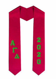 Alpha Gamma Delta Greek Diagonal Lettered Graduation Sash Stole With Year