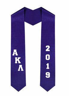 Alpha Kappa Lambda Greek Diagonal Lettered Graduation Sash Stole With Year
