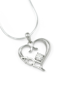 Alpha Omicron Pi Sterling Silver Heart Pendant with Swarovski Clear Crystal