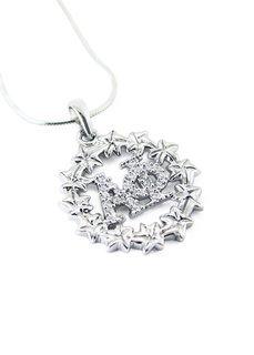 Alpha Phi Ivy Leaf Circular Pendant set with Lab-created Diamonds