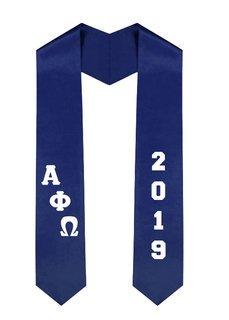 Alpha Phi Omega Greek Diagonal Lettered Graduation Sash Stole With Year
