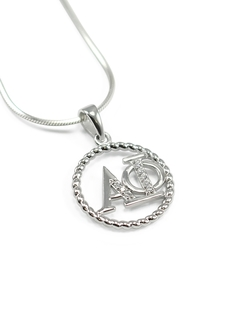 Alpha Phi Sterling Silver Circular Pendant set with Lab-created Diamonds