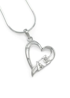 Alpha Phi Sterling Silver Heart Pendant set with Lab-created Diamonds