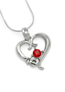Alpha Phi Sterling Silver Heart Pendant with Swarovski� Red Crystal