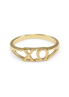 Chi Omega Gold Plated Letter Ring