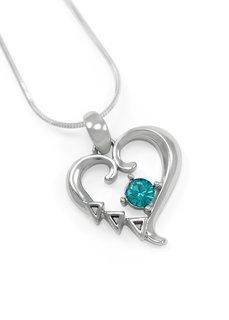 Delta Delta Delta Sterling Silver Heart Pendant with Swarovski� Blue Crystal