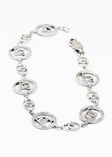 Delta Gamma Sterling Silver Bracelet set with Lab-created Diamonds