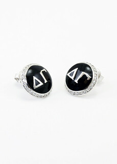 Delta Gamma Sterling Silver Earrings with Black Enamel and Lab-created Diamonds
