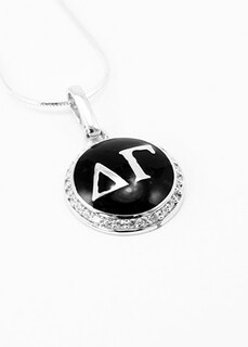 Delta Gamma Sterling Silver Pendant with Black Enamel and Lab-created Diamonds