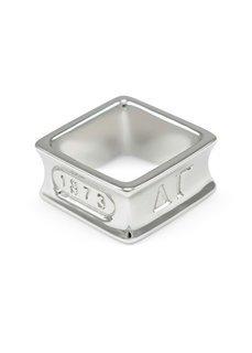 Delta Gamma Sterling Silver Square Ring