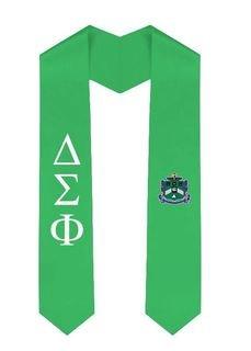 Delta Sigma Phi Greek Lettered Graduation Sash Stole With Crest