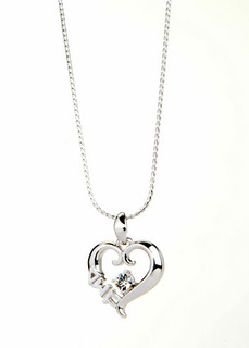 Delta Sigma Pi Sterling Silver Heart Pendant with Swarovski Clear Crystal