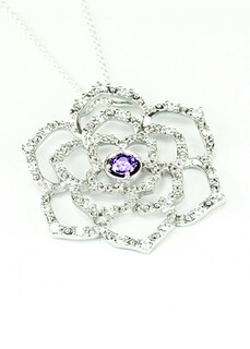 Delta Sigma Pi Sterling Silver Rose Pendant with Lab-created Diamonds