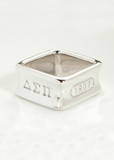 Delta Sigma Pi Sterling Silver Square Ring