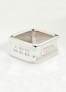 Delta Sigma Pi Sterling Silver Square Ring