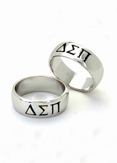 Delta Sigma Pi Sterling Silver Wide Band Ring