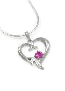 Delta Zeta Sterling Silver Heart Pendant with Swarovski� Pink Crystal