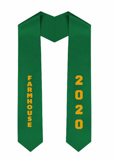 FARMHOUSE Greek Diagonal Lettered Graduation Sash Stole With Year