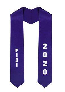FIJI Greek Diagonal Lettered Graduation Sash Stole With Year