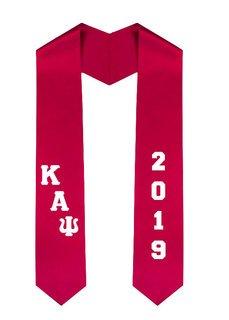 Kappa Alpha Psi Greek Diagonal Lettered Graduation Sash Stole With Year