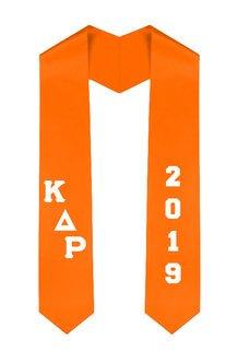 Kappa Delta Rho Greek Diagonal Lettered Graduation Sash Stole With Year