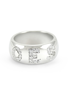Order of Eastern Star Silver paved CZ letters only