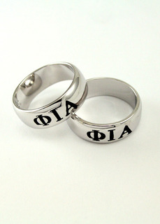 Phi Iota Alpha Sterling Silver Wide Band Ring
