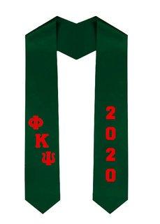 Phi Kappa Psi Greek Diagonal Lettered Graduation Sash Stole With Year