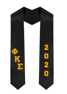 Phi Kappa Sigma Greek Diagonal Lettered Graduation Sash Stole With Year