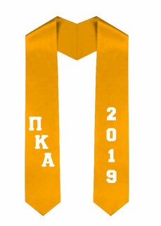 Pi Kappa Alpha Greek Diagonal Lettered Graduation Sash Stole With Year