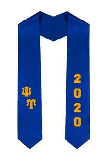 Psi Upsilon Greek Diagonal Lettered Graduation Sash Stole With Year