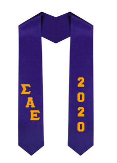 Sigma Alpha Epsilon Greek Diagonal Lettered Graduation Sash Stole With Year